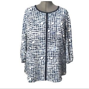 Blue tunic blouse with wrist ties XL
